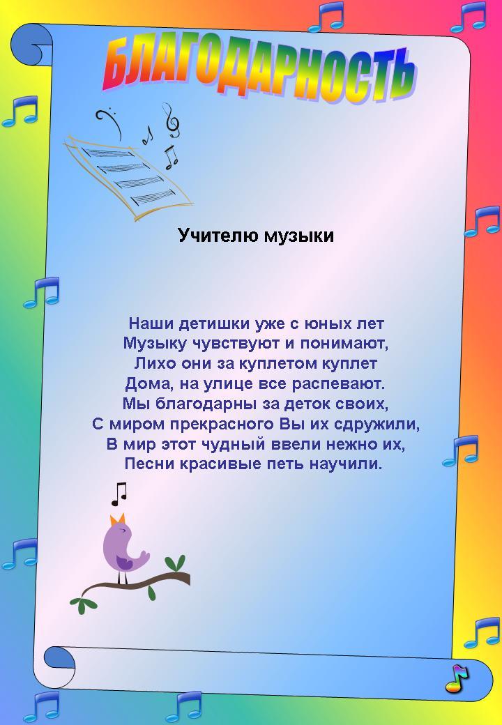 Поздравление преподавателя музыкальной школы